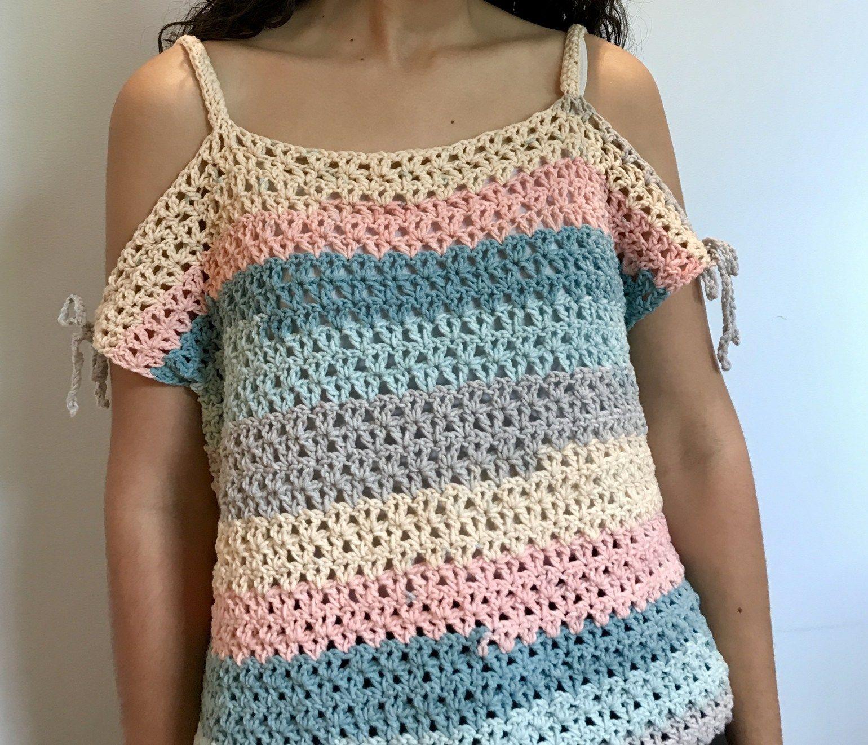 5310fedce0ea Peephole Shoulder Crop Top – Sarayu Handmade Chevron Crochet Patterns