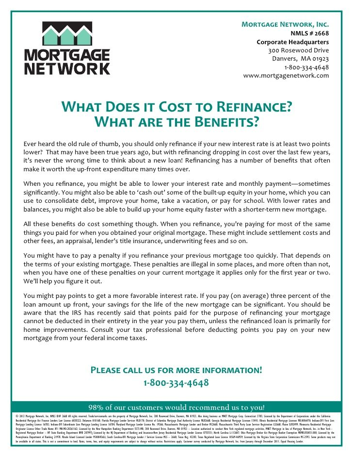 What Does It Cost To Refinance By Mortgage Network Inc Rule
