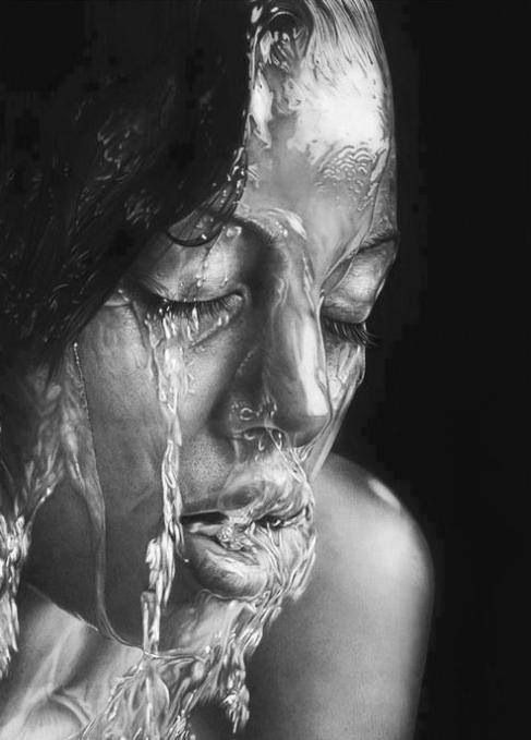 Amazing pencil drawing of water running over a womans face