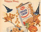 "1955 Post Sugar Crisp Cereal ""Halloween Gobblin Food"" Vintage Ad"