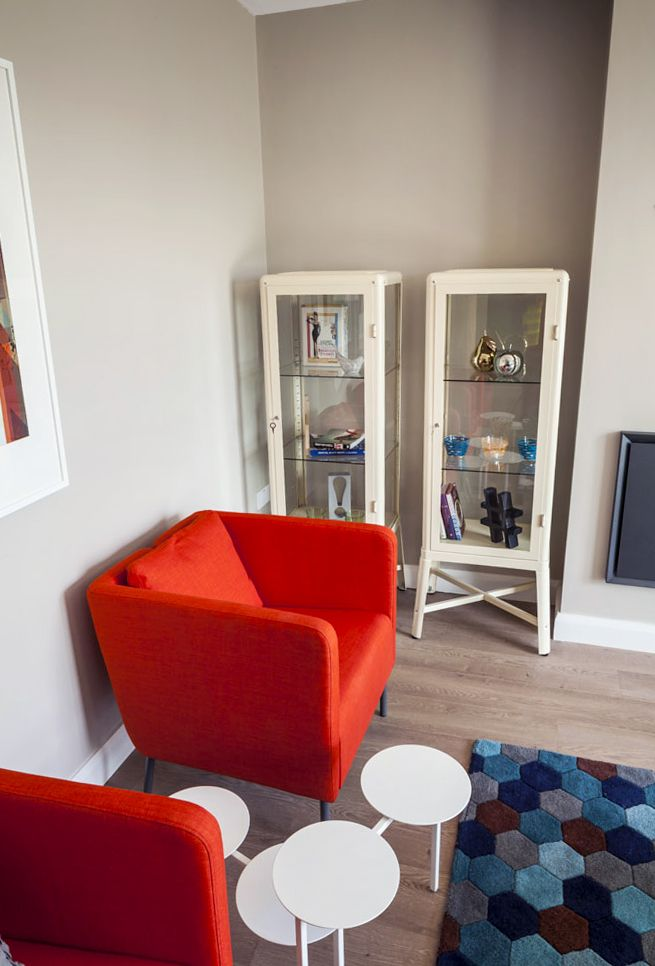 Residential Living Room Ikea Fabrikor Display Unit Ikea Ekero Armchair Orange