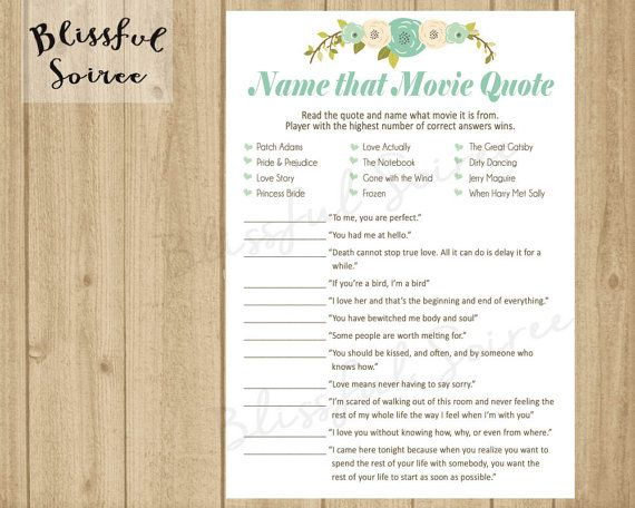 Bridal Shower Game   Name that Movie Love Quote by BlissfulSoiree - invitation quotes for freshers party