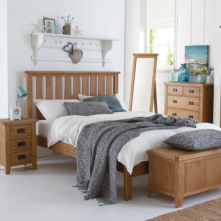 Wooden King Size Bed Frame Solid Oak Pine Slats Rustic Bedroom