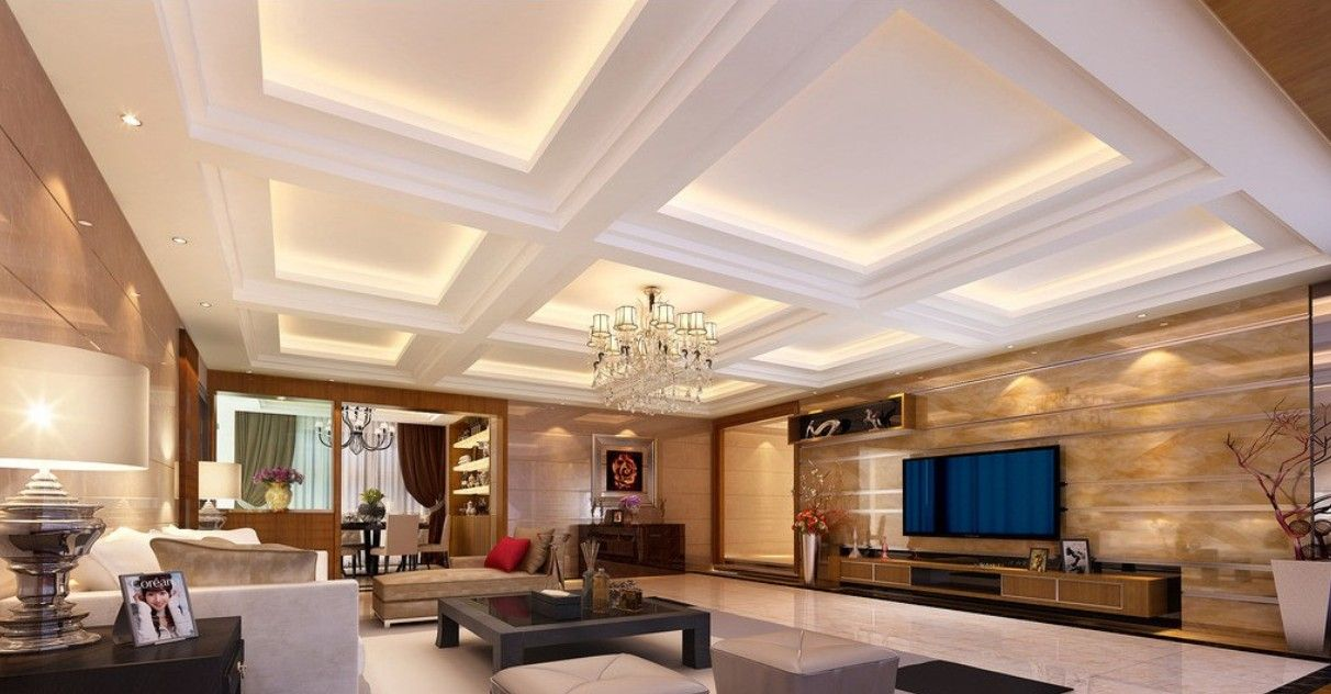 Modern Living Room Plaster Ceiling Design Hidden Lights Minimalist Concept