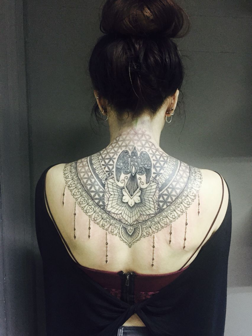 Lace inspired back/neck tattoo. Back of neck tattoo