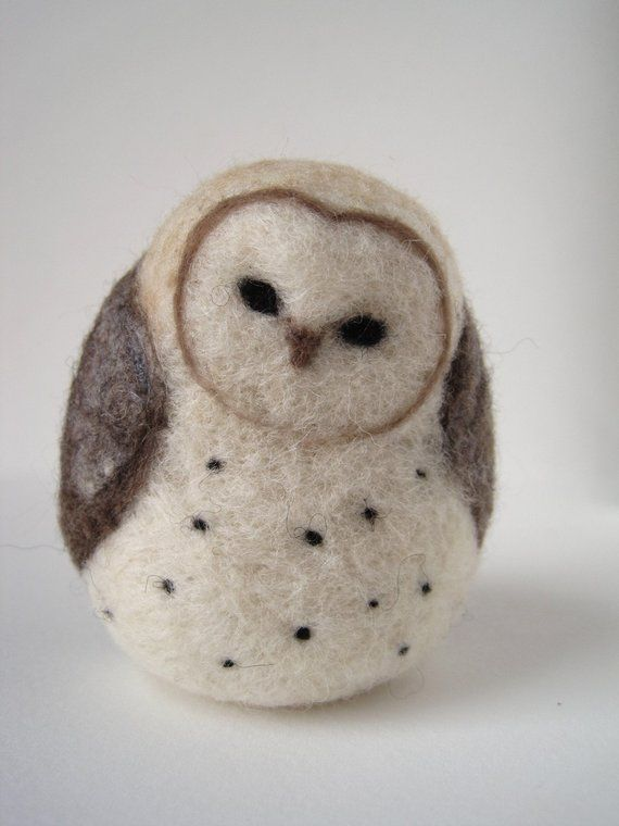Barn Owl Needle Felted Wool Sculpture #feltedwoolanimals Barn Owl Needle Felted Wool Sculpture #feltedwoolanimals