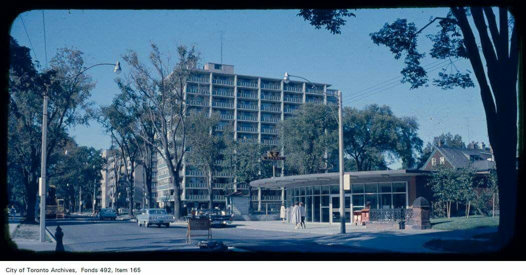 St. George subway station entrance looking north-west, St. George Street north of Bloor Street - [between 1950 and 1969]