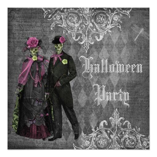 elegant glamorous skeletons halloween party card - Elegant Halloween Party