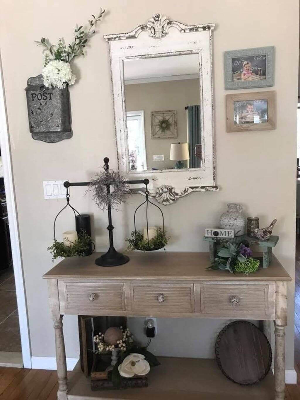 Graceful Distressed Mirror over an Entry Table
