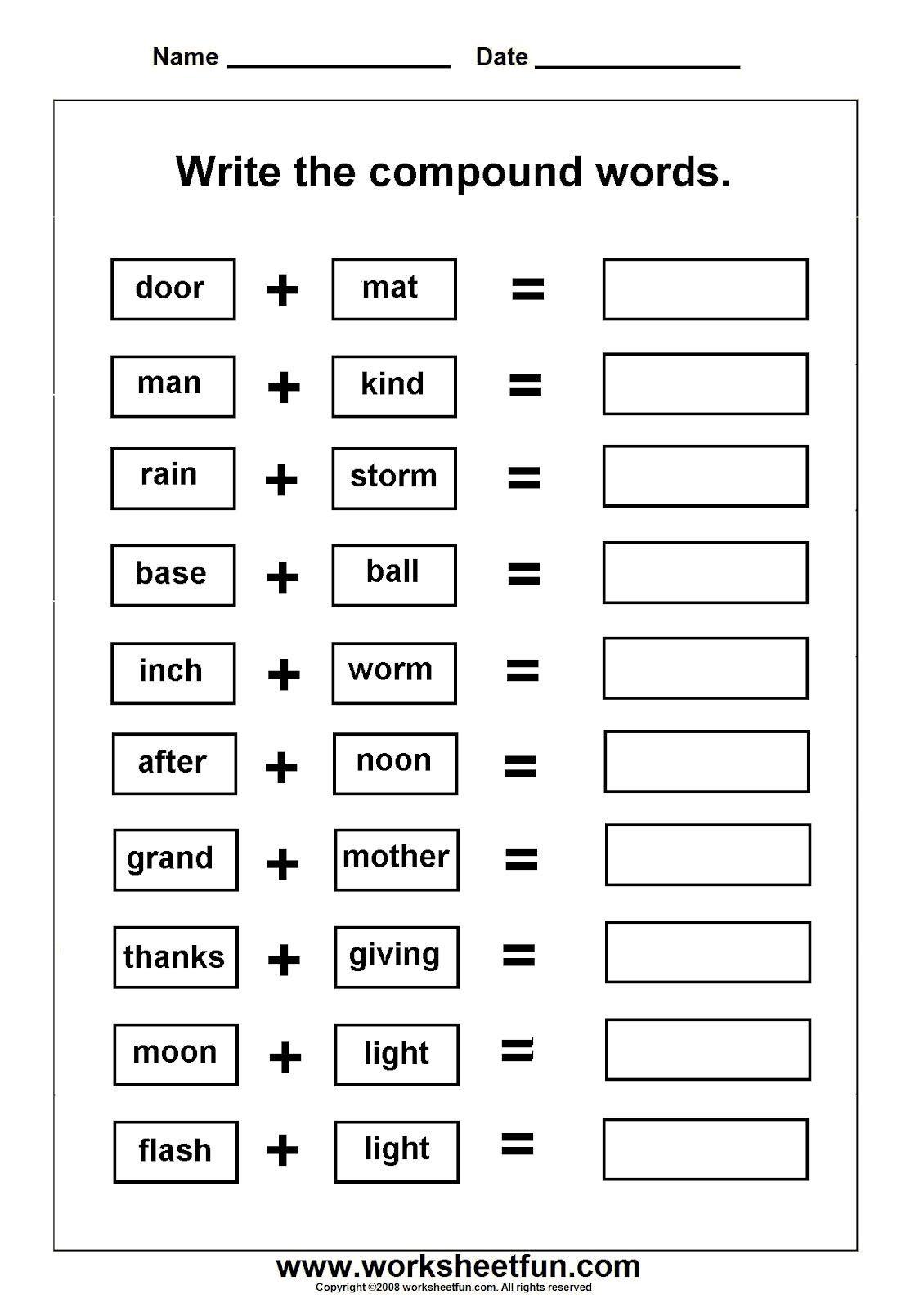 Compound Words Worksheets Grade 3 Worksheets Pound Words