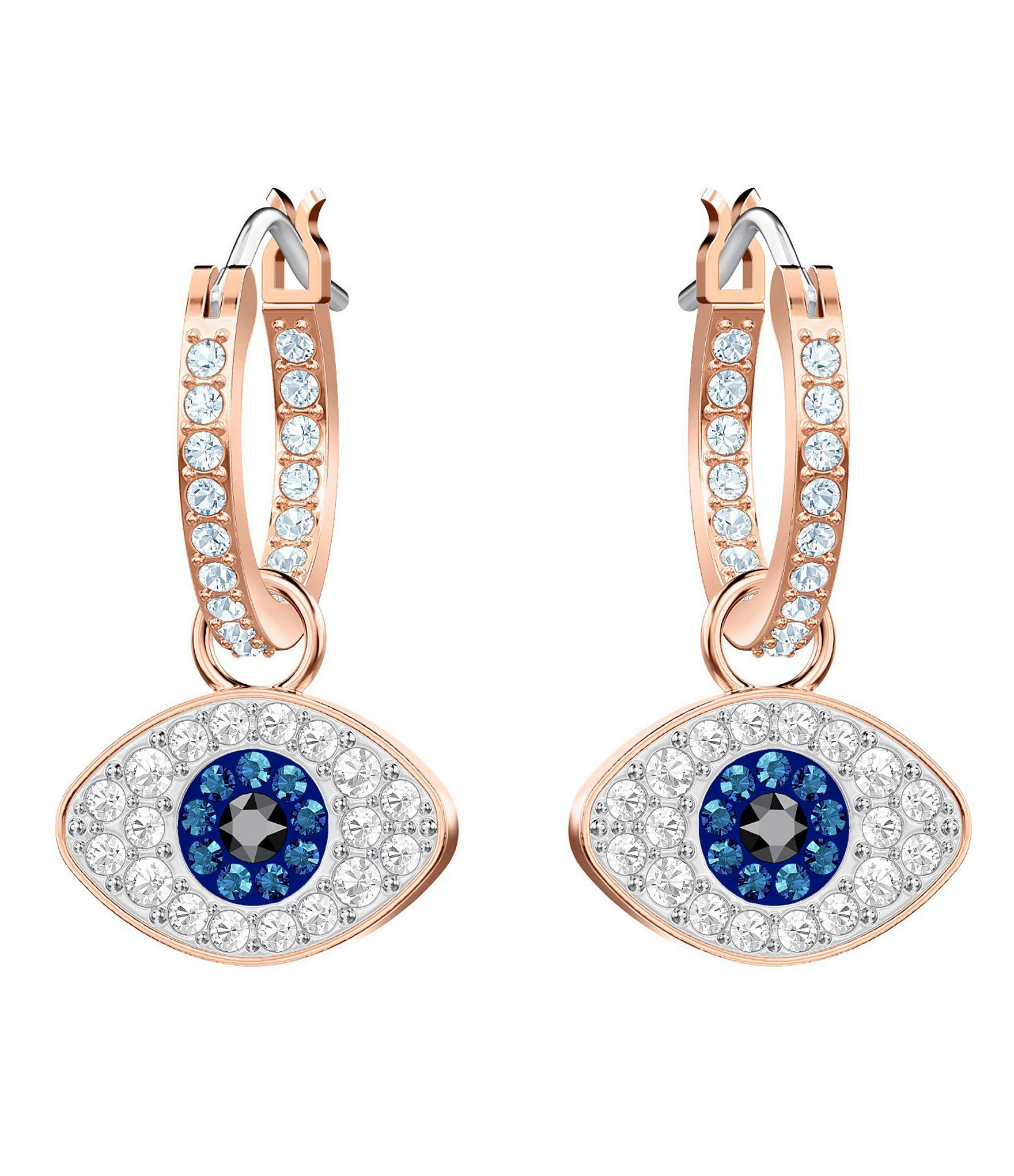 Sterling Silver Rose-toned Half Moon Hoops Earrings by Caterina Jewelry