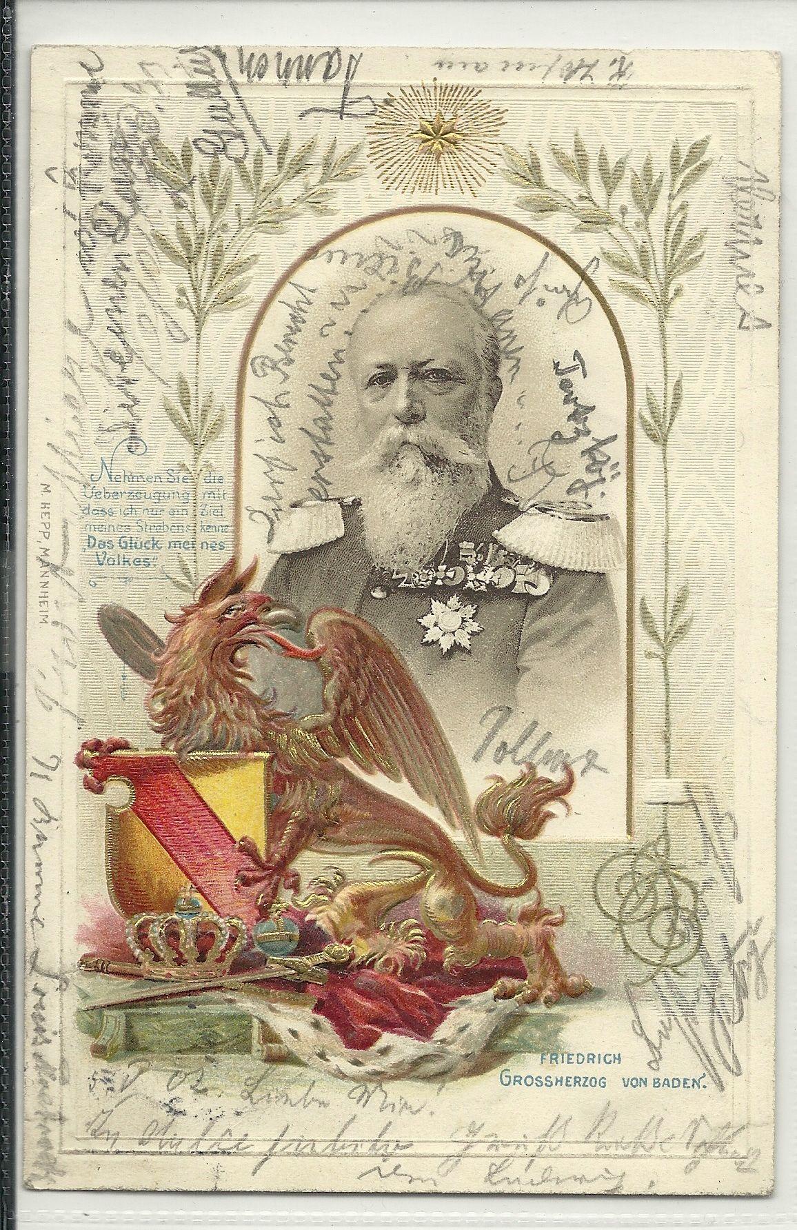 Lithographie 50 jähriges Regierungsjubiläum des Grossherzogs Friedrich von Baden 1902