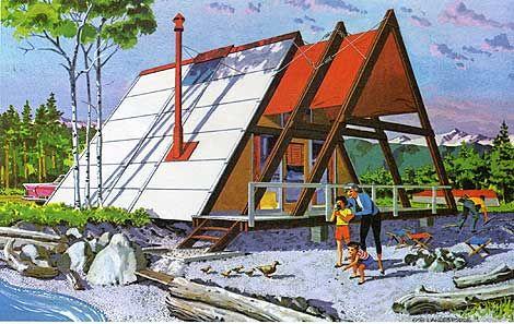 60s holiday home illustration - Modern A Frame