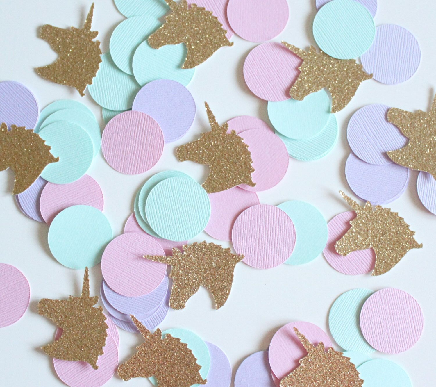 Gold glitter unicorn pink purple mint 1 39 circle for Baby confetti decoration