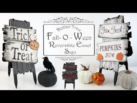 Dollar Tree DIY / Reversible Easel Sign / Fall & Halloween