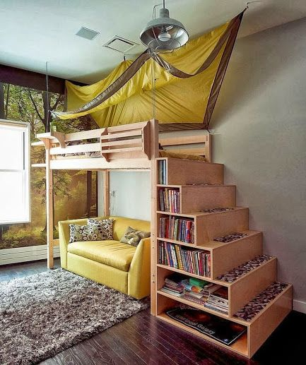 Bunk bed bookshelf