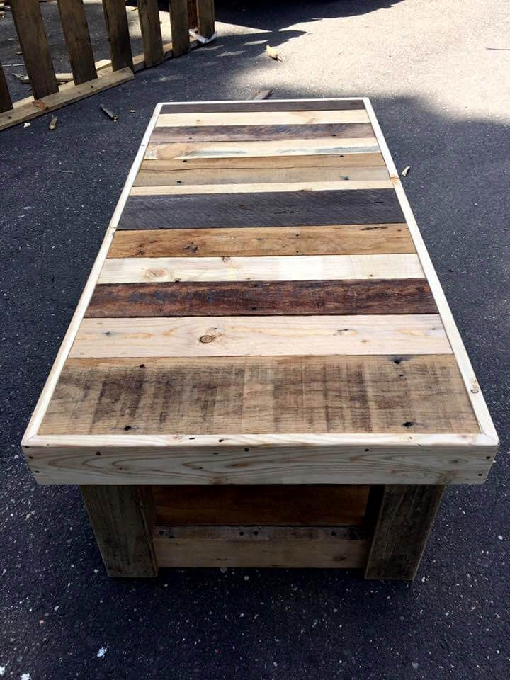Custom pallet coffee table with glass top pallet coffee