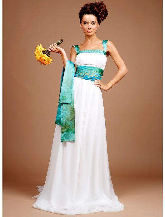 Silk Chiffon Bridal Gown, Blue Wedding Dress, Dramatic Wedding Dress ...