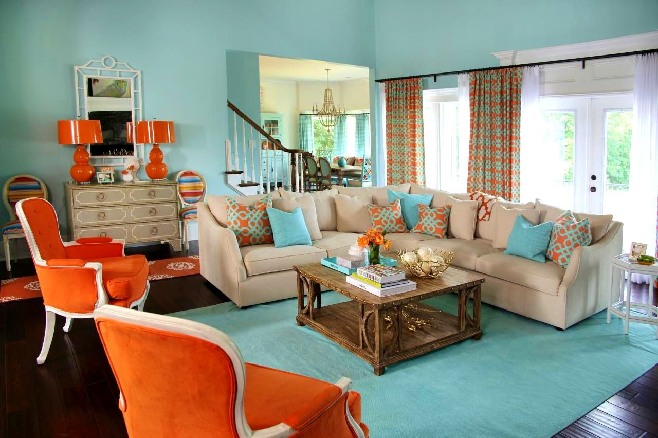 Bedroom Exquisite Living Room Incredible Blue And Orange B