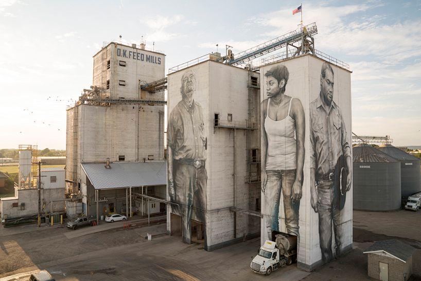 guido van helten paints larger-than-life 'heroes' on feed mill façades in arkansas #streetart