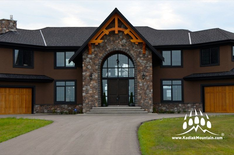 Another great project by Creative Stone in Calgary Alberta Canada used our Cut Fieldstone profile in our popular Quarry color which contrasts beautifully against the exposed beams. www.KodiakMountain.com