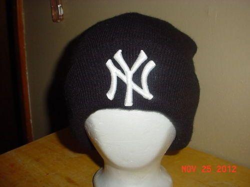d8c27ec053eeb RARE NEW YORK YANKEES MLB AUTHENTIC BEANIE SKULL WINTER KNIT HAT CAP XL  VINTAGE