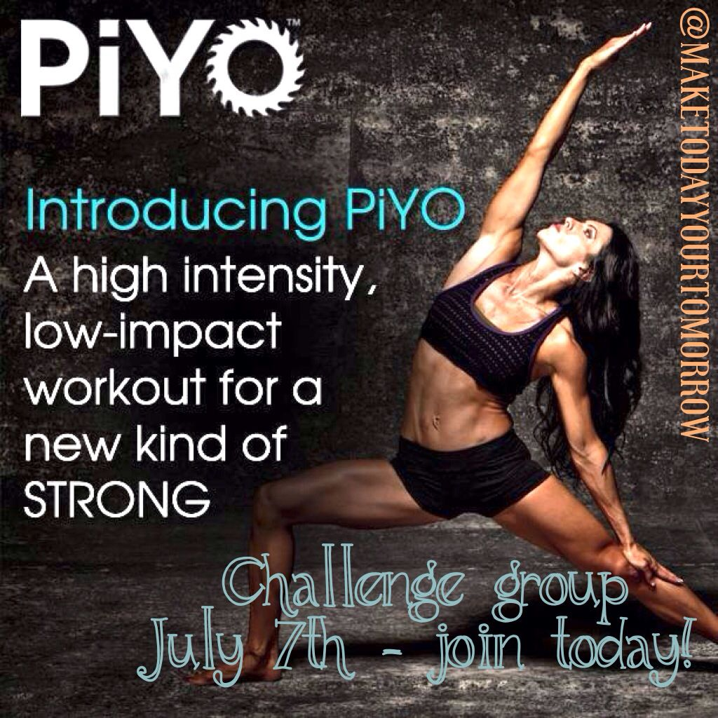 PiYo is the hottest new workout program to hit the market! It's a LOW impact yet high intensity workout that will make you work for that body you've been wishing for!! ---------------------------- I am going on Day 4 and I already for very relieved and know my muscles are getting a great stretch. This workout is strictly your own body weight!!  Join my challenge group beginning July 7th - comment your email below! Spaces are filling up quickly, you don't want to miss your chance!!