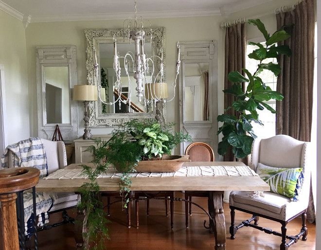 I Chalk Painted The Mirror The Side Mirrors Were Added To Old Doors Dining Room Design Stylish Dining Room Dining Room Spaces