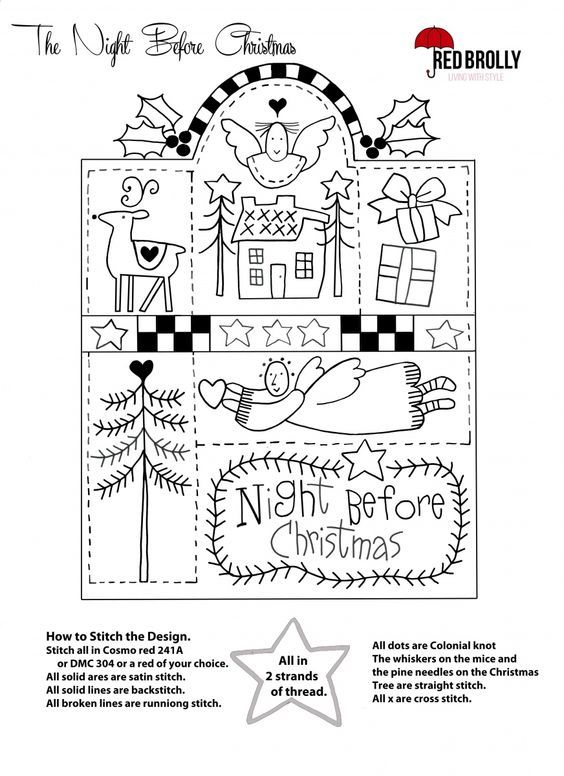 The night before Christmas | Redwork | Pinterest | Navidad, Bordado ...