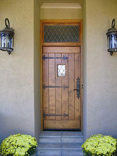 Custom Old World Plank Door With Speakeasy Entry Doors By Decora Tudor Decor Wood Entry Doors Residential Doors