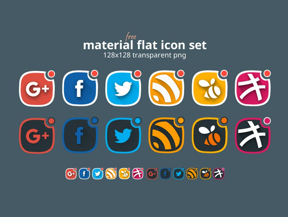 Material Flat Social Icon Set Android Icons Social Icons Icon Set