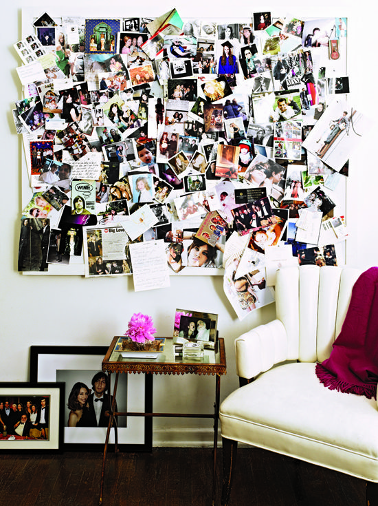 A more chic version of the dorm room photo collage - totally want to do this!