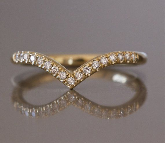 Curved Wedding Band Diamond V Ring Curved Wedding Ring Chevron