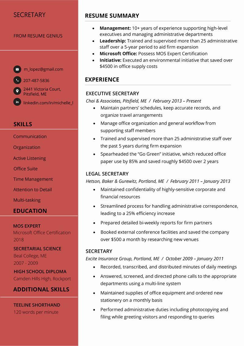 Legal Secretary Resume Example Fresh Secretary Resume Sample Writing Tips Free Download Resume Examples Resume Templates Download Resume