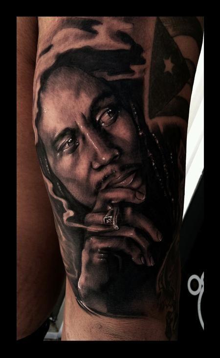 Bob Marley Portrait Tattoo by Brent Olson   Inked ...