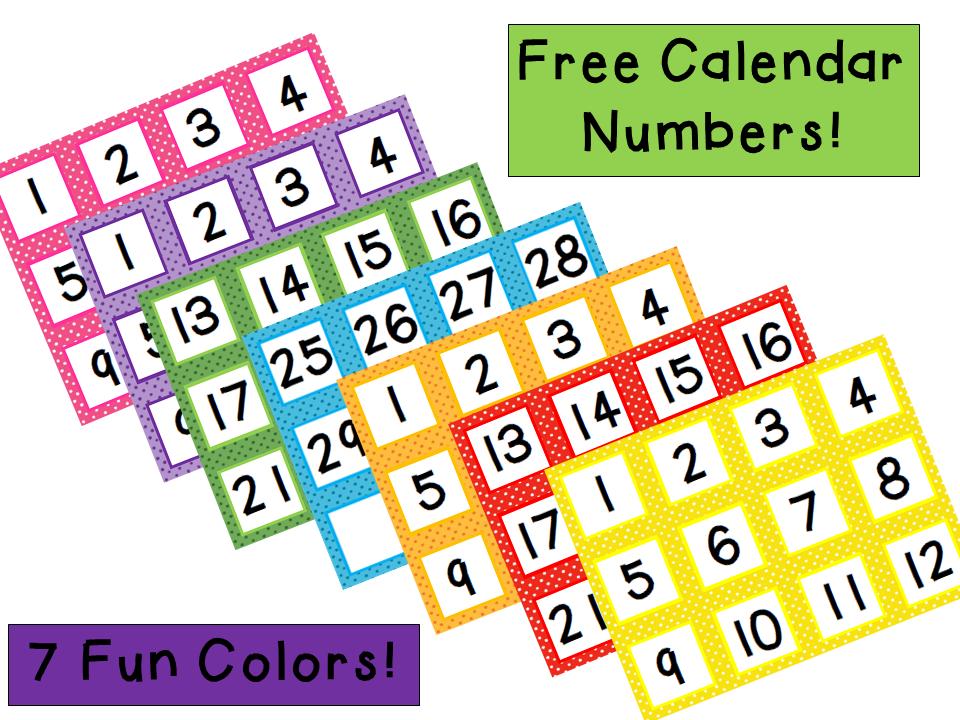 Calendar Organization Number : Freebie calendar numbers in fun colors classroom