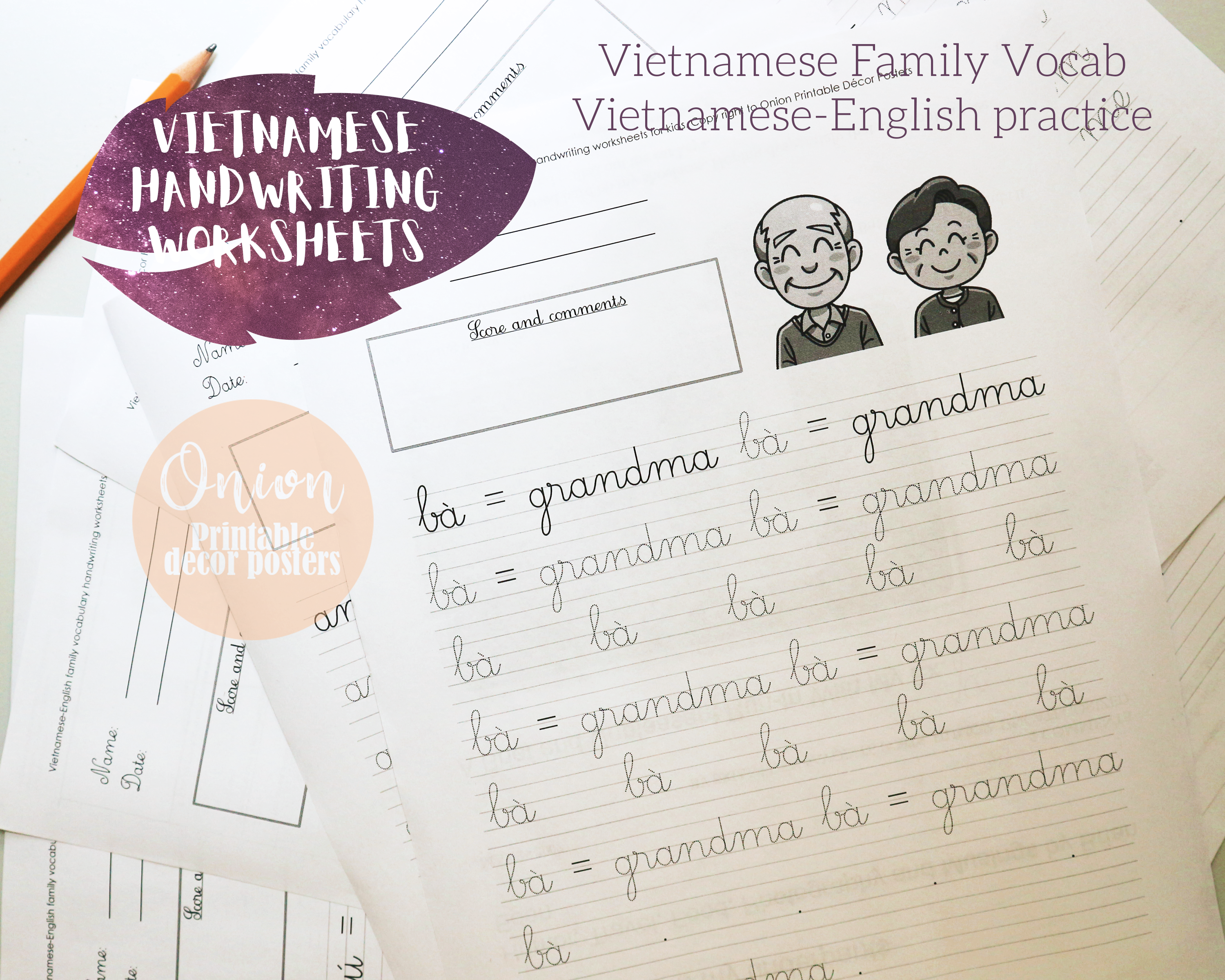 Vietnamese Handwriting Worksheets Vietnamese Family Vocab