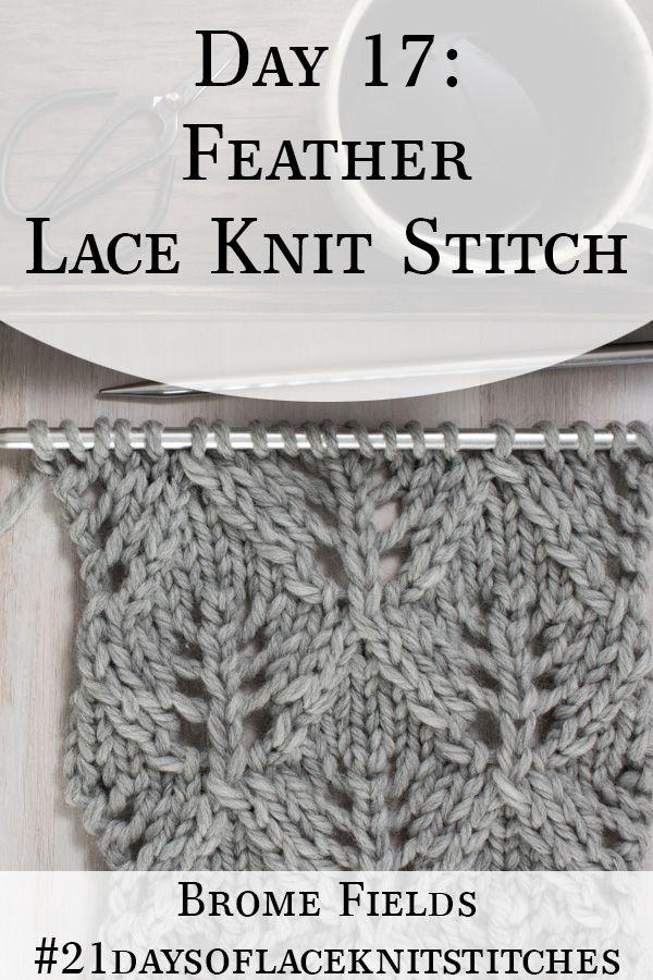 Day 17 : Feather Diamond Lace Knit Stitch : #21daysoflaceknitstitches #laceknitting