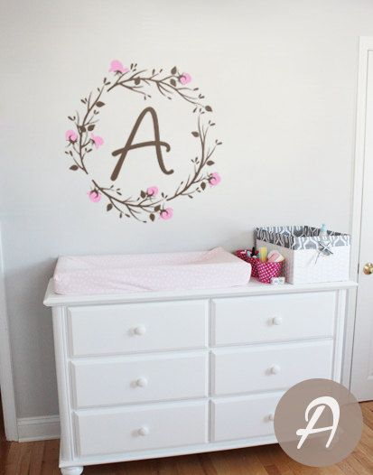 Name Nursery Wall Decal Custom Monogram Wall Decals Personalized - Monogram wall decals for nursery