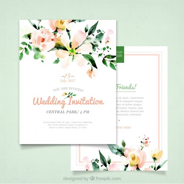 Wedding invitation with watercolor flowers Vector Free Download - fresh wedding invitation vector templates free download