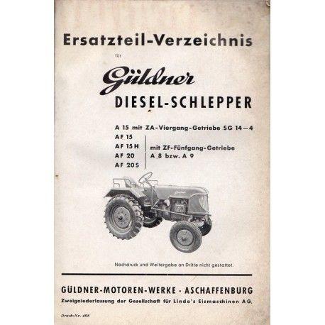 Ersatzteilliste Guldner A15 Af15 Af15h Af20 Af20s Teilchen Landmaschinen Getriebe