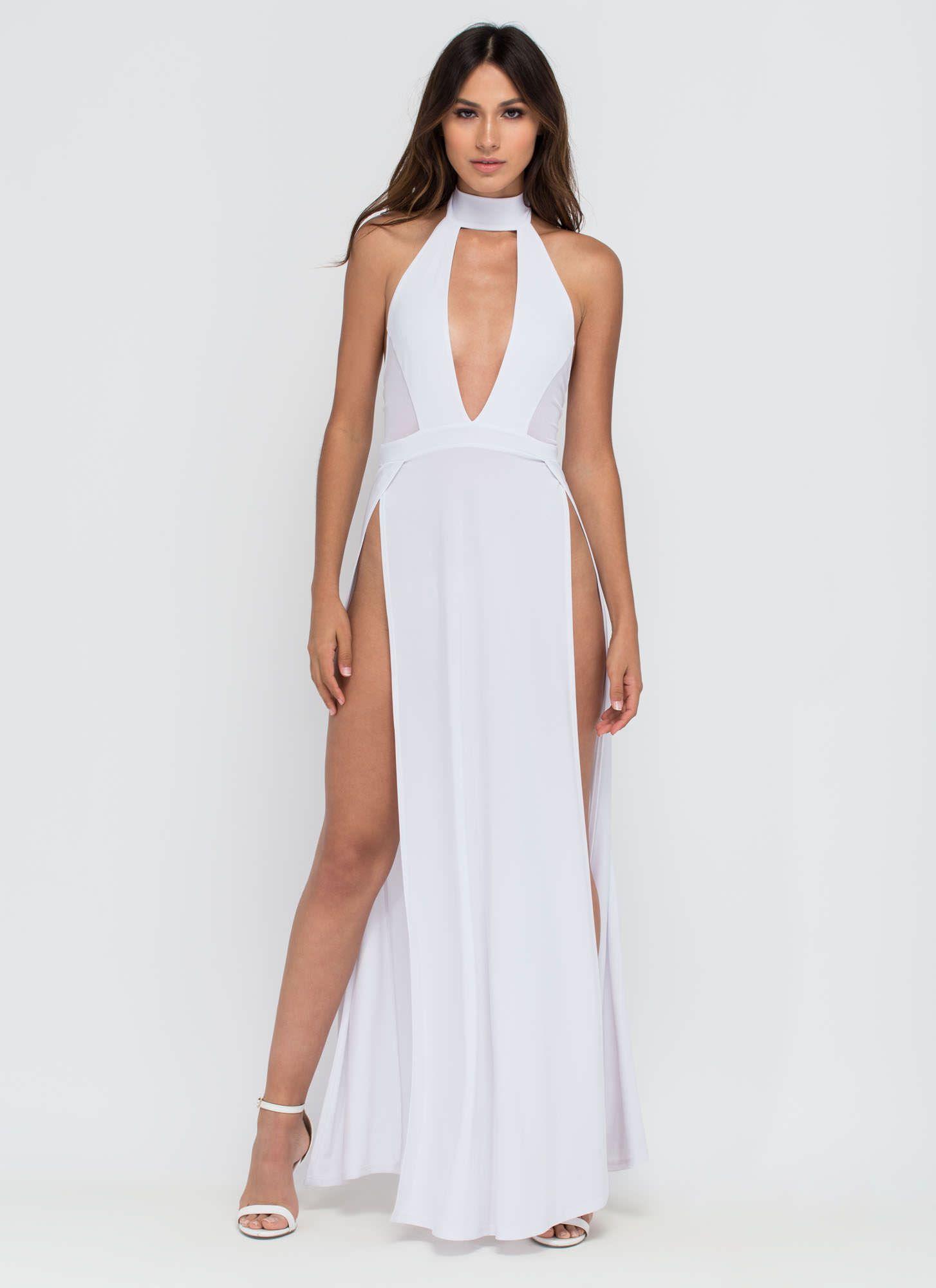 Legs For Days Plunging Slit Maxi Dress WHITE BLACK - GoJane.com ...
