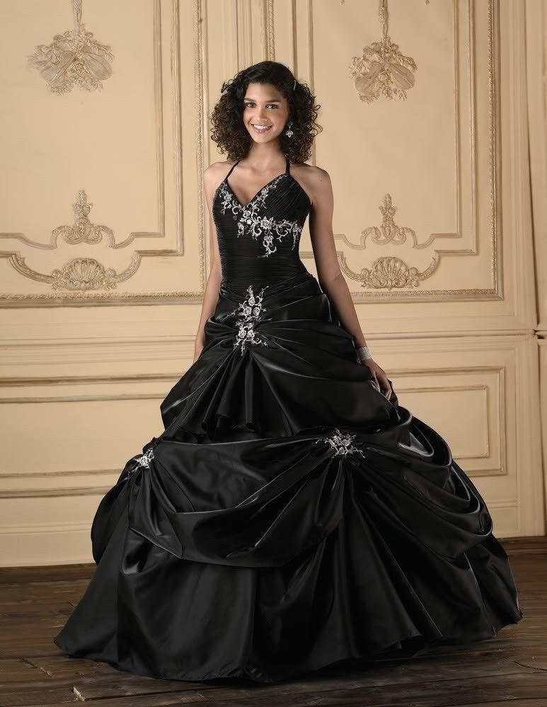 2016 Black Taffeta Wedding Dress Bridal Ball Gown Custom Size 6 8 10