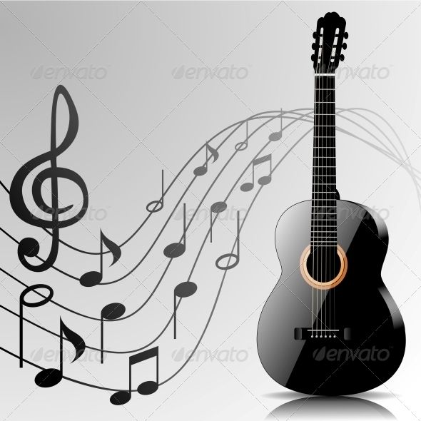 Abstract Music Background With Guitar And Notes Music Backgrounds Music Images Guitar