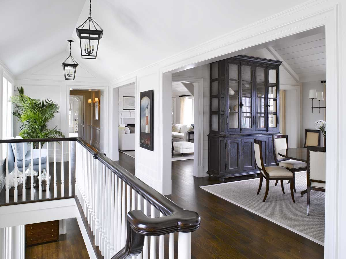 Nantucket home. Love the contrast between white walls and dark wood ...