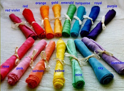 Play Silks $14.50. Great for play. Light, flowing silk. 35x35 inch squares.Hand hemmed and coloured with non-toxic dyes. From Tiny Footprint Toys