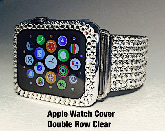 new arrival f3bea fc6ef 42mm Silver Chrome Apple Watch Cover Swarovski Crystals. Double Row ...