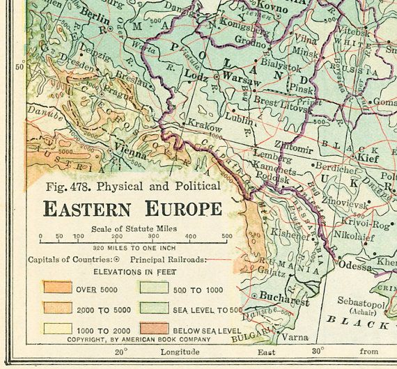 1930 Eastern Europe map print Baltic States by EleanorsVintage