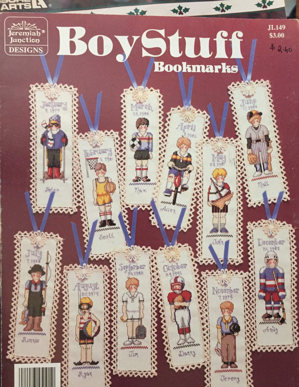 This pattern has a different bookmark featuring boys dressed as football, baseball, soccar, tennis, hocky players and more!  Great gift for a young ma