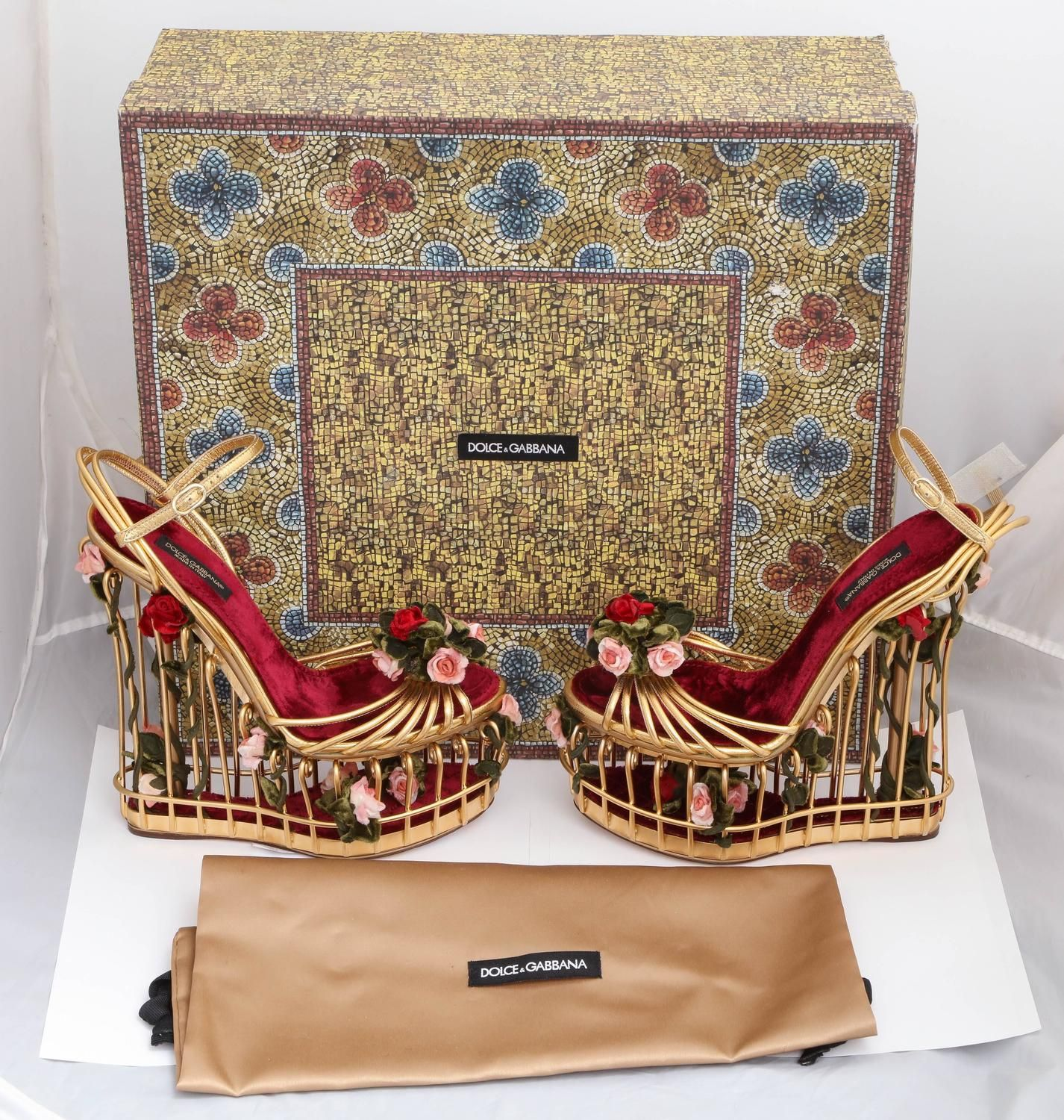 03c53e2ce86 Very rare Dolce and Gabbana Runway Cage Heel Shoes Piece of Art in ...
